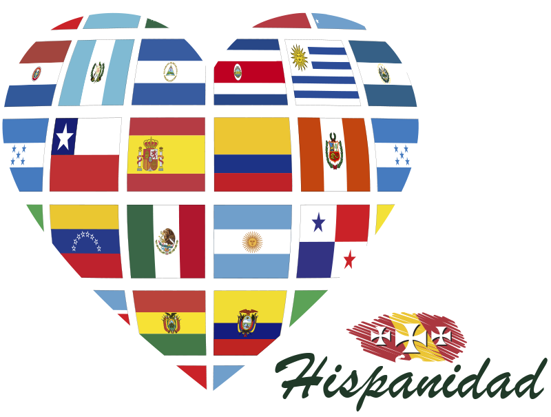 Corazón con banderas del Día de la Hispanidad | Día de la hispanidad,  Banderas, Carteles de asistencia