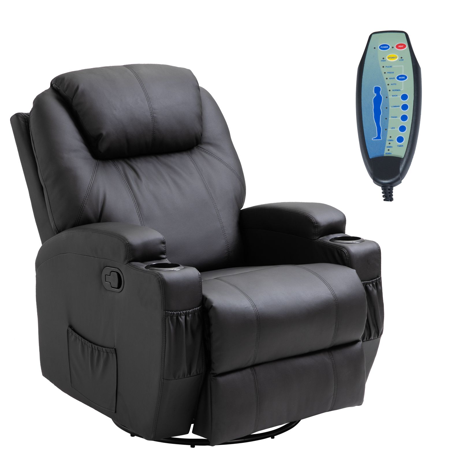 Faux Leather Heated Massage Recliner Chair with
