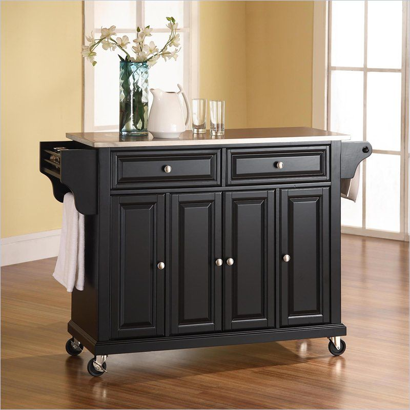 Crosley Furniture Stainless Steel Top Kitchen Cart in Black | House ...
