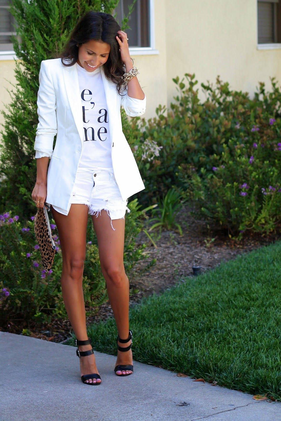 all white outfit, graphic tee, what is fashion, white blazer ...