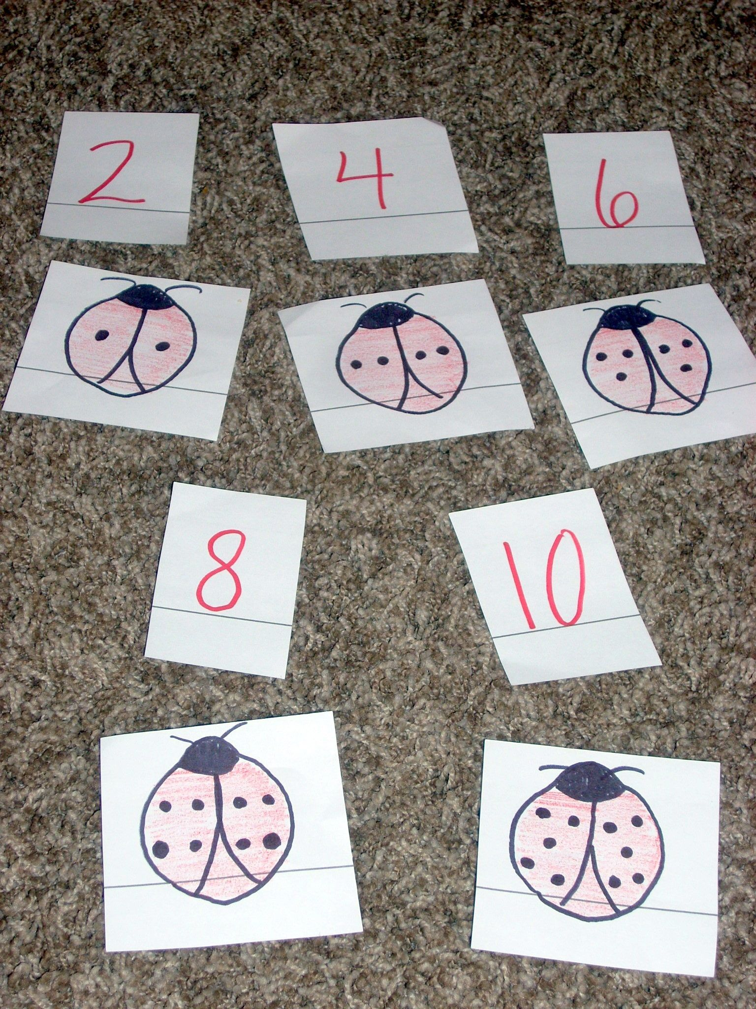 Counting Matching Activities For Ladybug Week