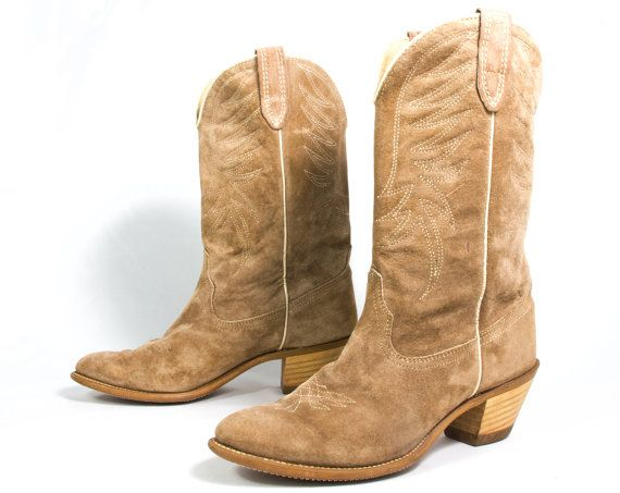 6203b9ab89e VTG 80's Fawn Suede Cowboy Boots size 8 1/2 Womens Light Brown ...