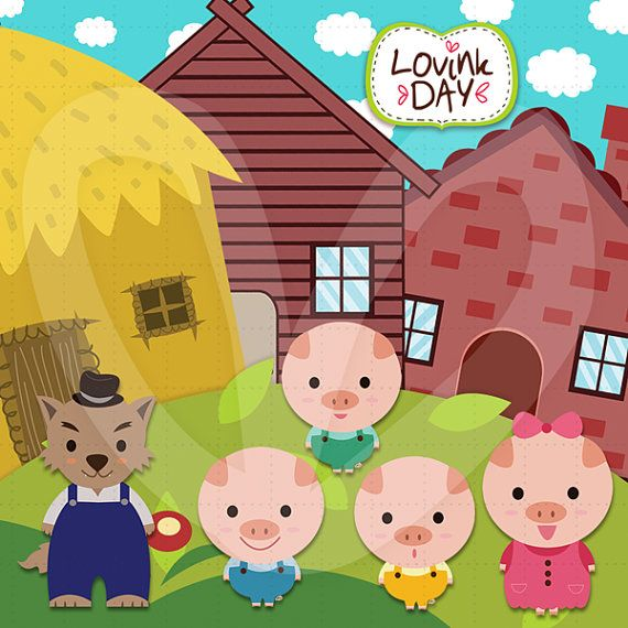 Three Little Pigs  Clip Art Set - Commercial and Personal Use - Code  D13014