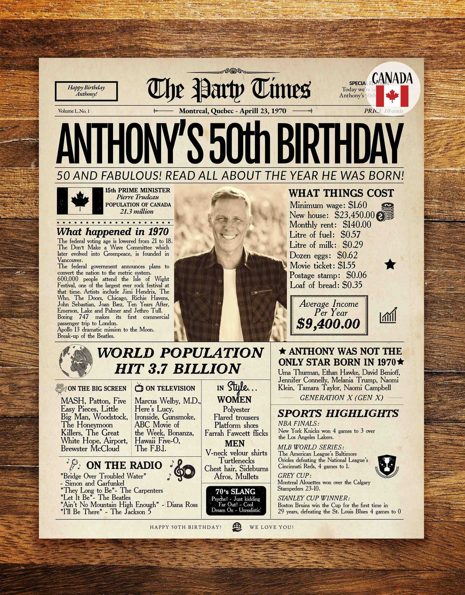 1970 50th birthday newspaper canada or usa 1970 birthday