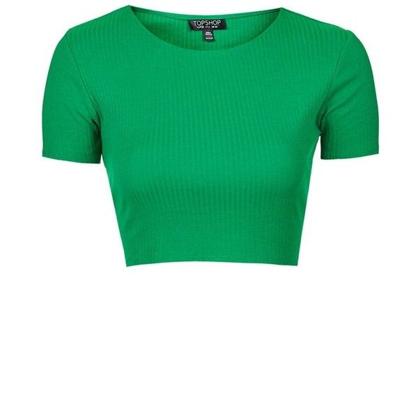 Topshop Rib Crop Tee ($14) ❤ liked on Polyvore featuring tops, t-shirts, topshop, green tee, ribbed crop tee, ribbed tee and summer crop tops