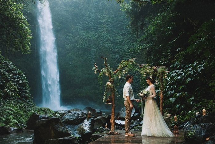 Bali waterfall wedding. | Bali in 2019 | Waterfall wedding