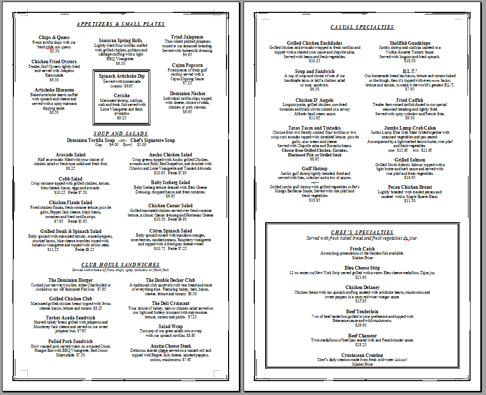 Free Printable Template Restaurant Menus    Simple Menu