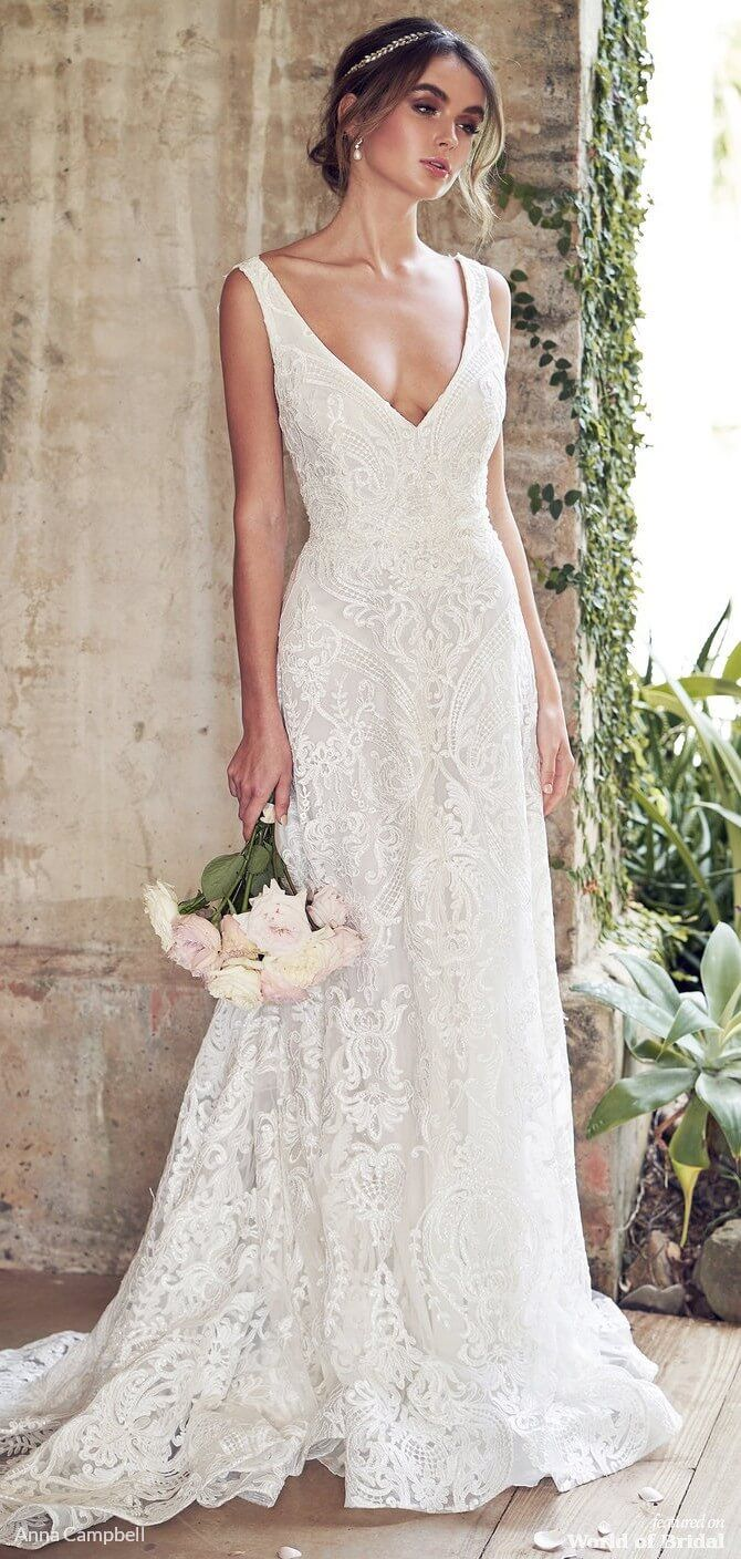 Photo of Anna Campbell 2019 wedding dress with floating Summer Chiffo…