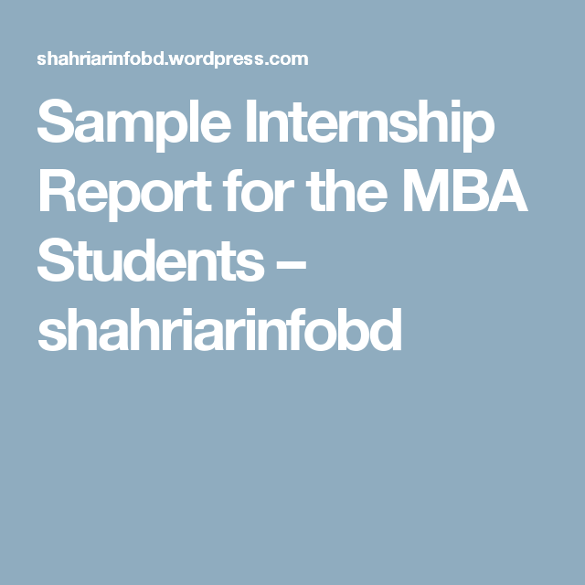 Sample Internship Report For The Mba Students  Architecture
