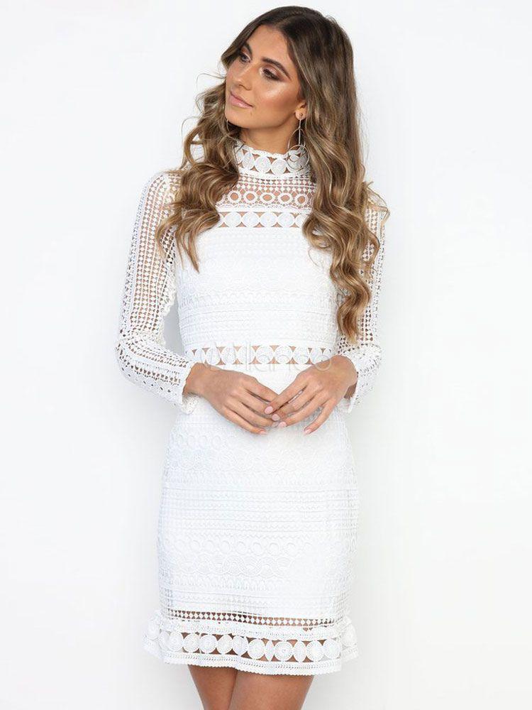 Weiß-Bleistift-Kleid ausgeschnitten hohen Kragen Langarm Frauen ...
