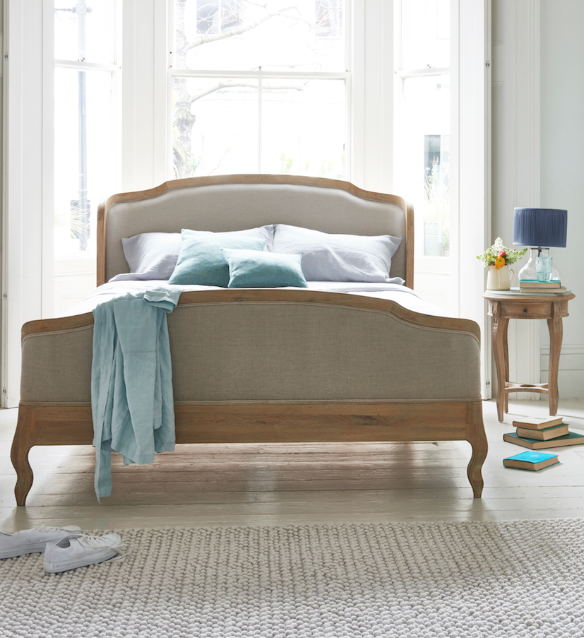 Loaf S Solid Oak And Natural Linen Joelle French Bed With Winged Headboard Footboard More