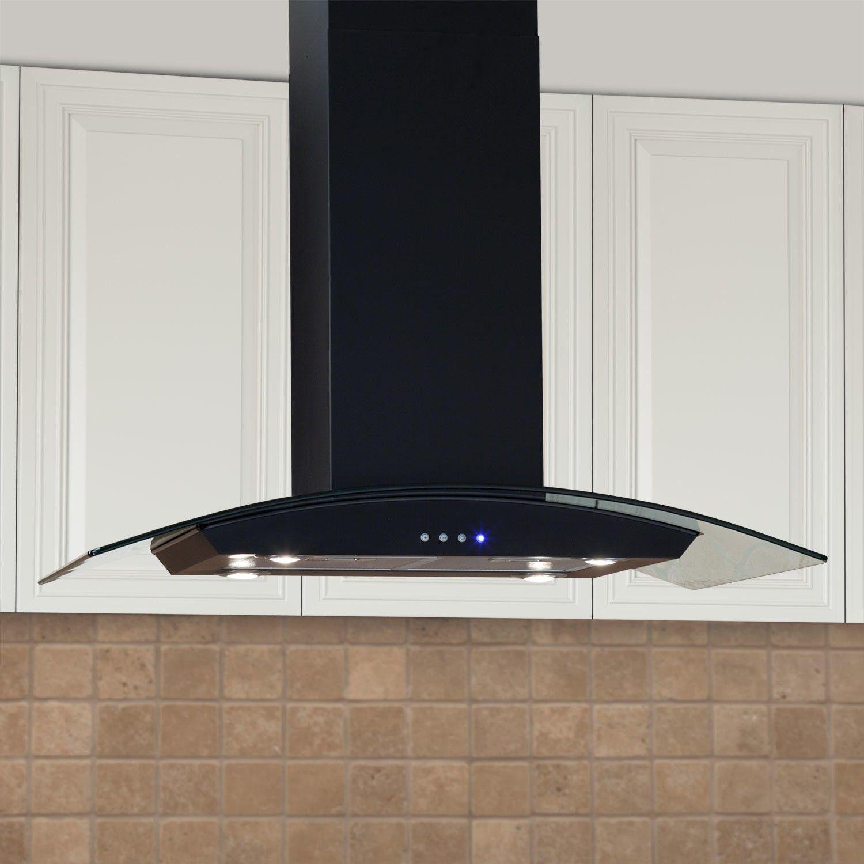"Kitchen Island Exhaust Hoods casa series 36"" stainless steel black island range hood - 600 cfm"