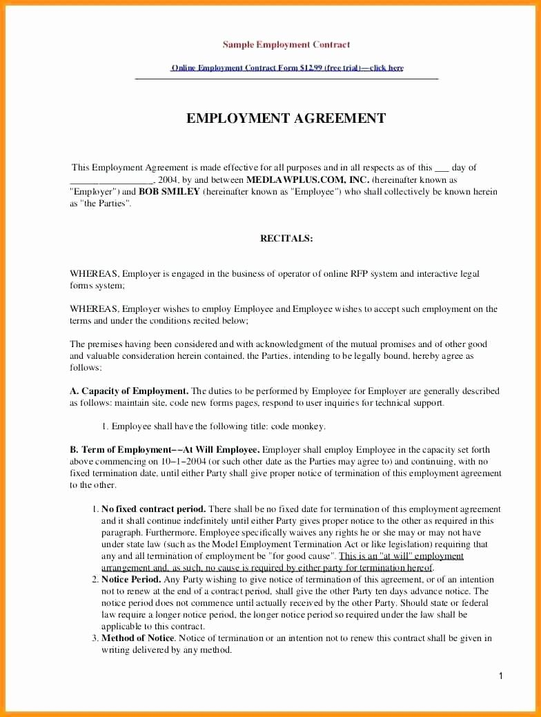 Beautiful template employment contract template contract