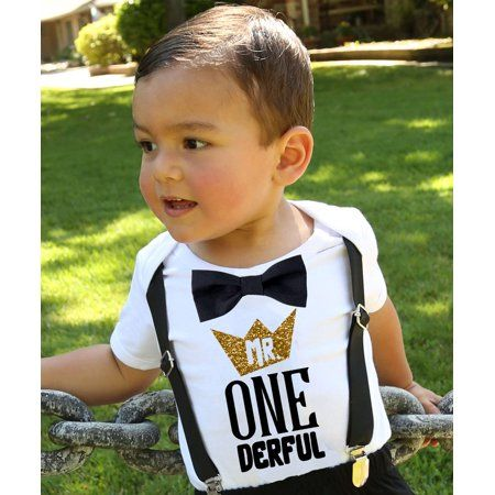 Noah's Boytique - Mr Onederful First Birthday Shirt Outfit Boy with Black Bow Tie Suspenders and Gold and Black Saying Cake Smash 1st Birthday Party Noah's Boytique 18-24 Months - Walmart.com