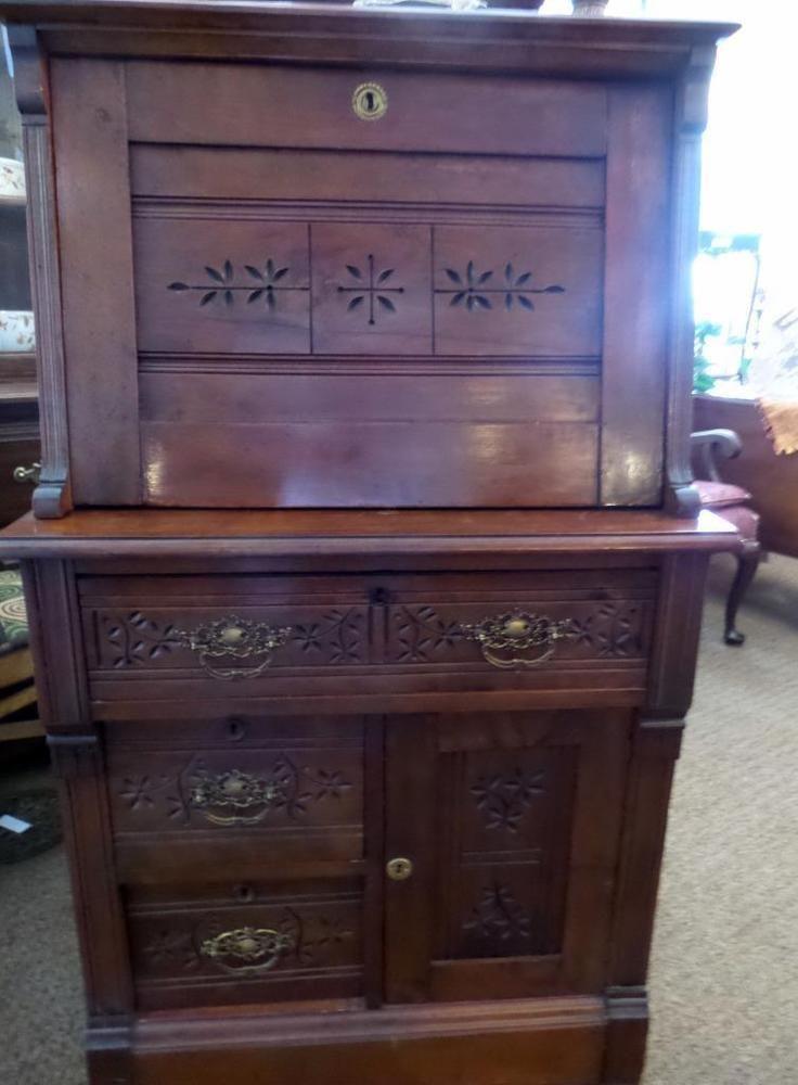 Walnut Antique Furniture | eBay - EASTLAKE WALNUT DROP DOWN SECRETARY DESK SOUTHERN PROVENANCE In