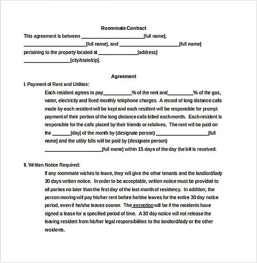 Roommate contract document how to create your own for Write my own will template