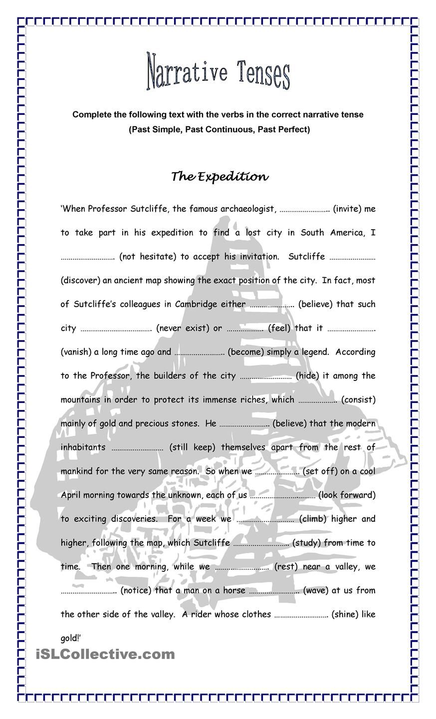 The Expedition - Narrative Tenses | EFL / Contrasted tenses | Pinterest