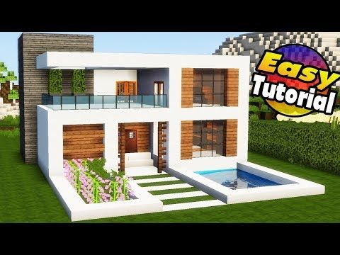 Minecraft: Easy Modern House Tutorial + Interior - How to Build a House in Minecraft