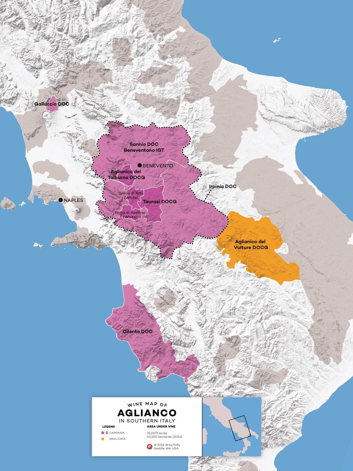 Southern Italy Aglianico Regions Within Basilicata And Campania By