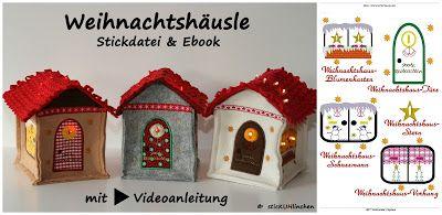 Weihnachtshäusle Ebook mit Stickdatei kostenloses Videotutorial sticKUHlinchen