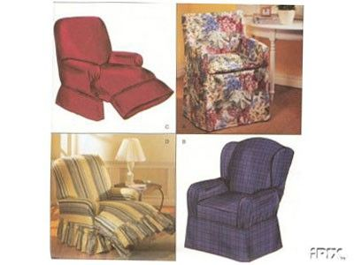 Very Rare U0026 HTF RECLINER Slipcover Sewing Pattern   Recliner Wingback Directors  Chair Covers Slipcovers