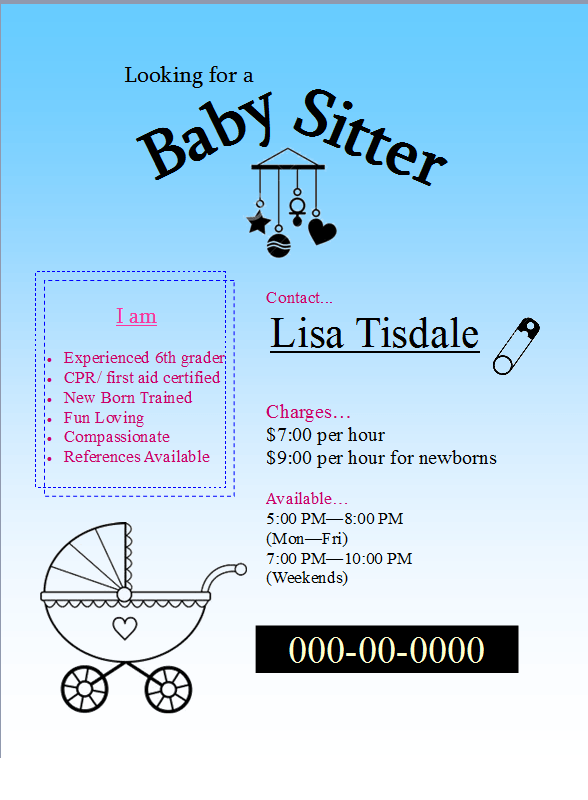 Download Free Baby Sitter Flyer easy to edit template | MS Office ...