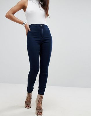 8aa4c3a00976 Missguided vice high waisted super stretch skinny jean in navy ...