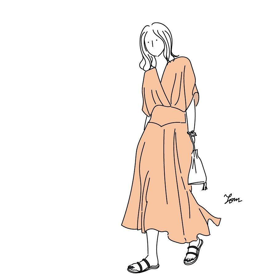 Tom On Instagram ゆるっと涼しい素材で 大人っぽいワンピが欲しい イラスト ファッション ファッション 服好きな人と繋がりたい ロングワンピース サンダル 巾着バッグ Illustration Illust Artwork Tomi ファッションイラスト ワンピ