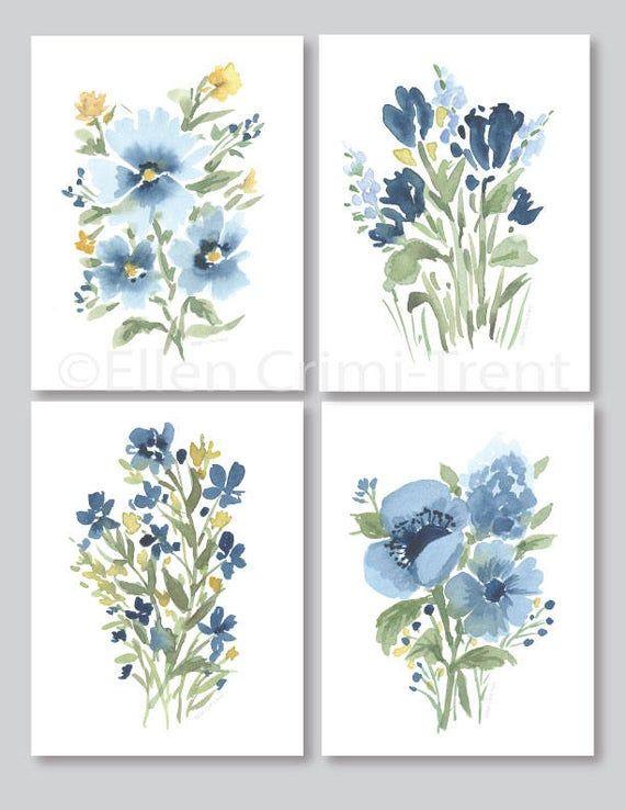 Fleurs Aquarelle Prairie Bleu Botanique Art Mural Aquarelle