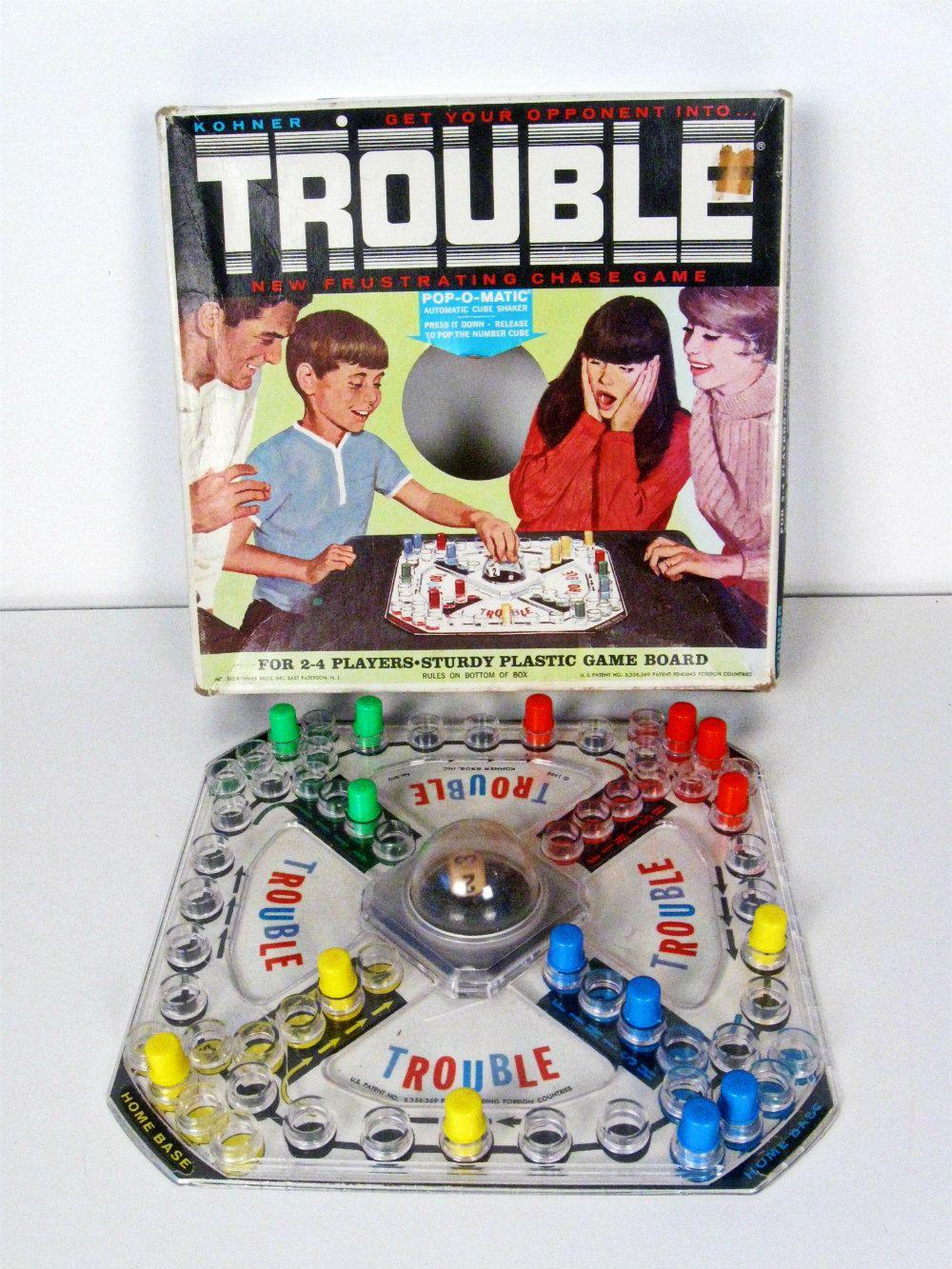 vintage TROUBLE board game Childhood games, Board games