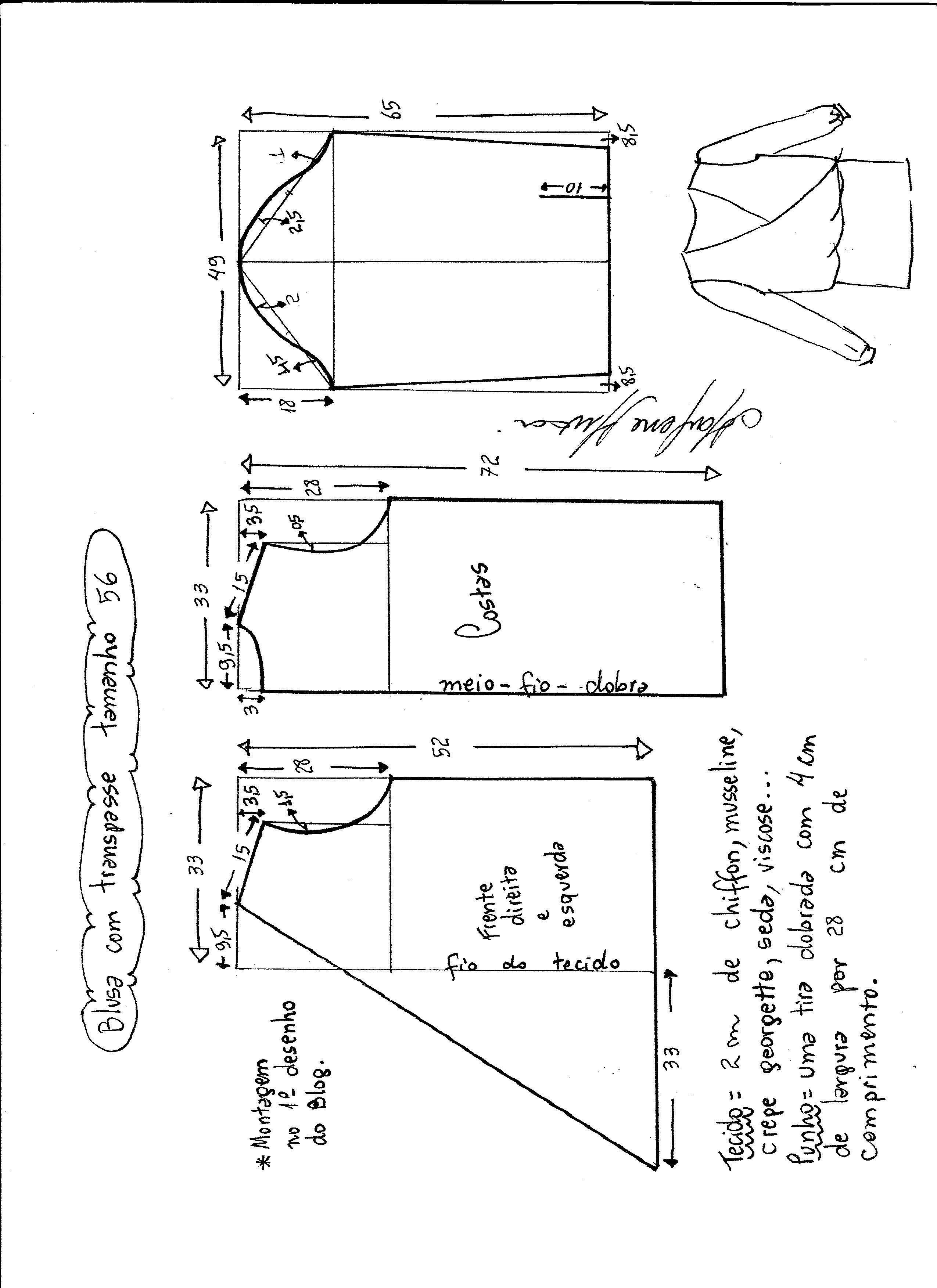 Patrón de blusa cruzada | Mama | Pinterest | Patrones, Blusas ...