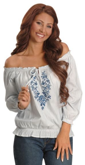 41443533559 Panhandle Slim Off Shoulder Peasant Top | My Style | Womens cowgirl ...