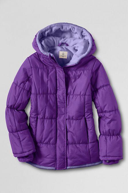 Girls' Fleece Lined Puffer Jacket from Lands' End