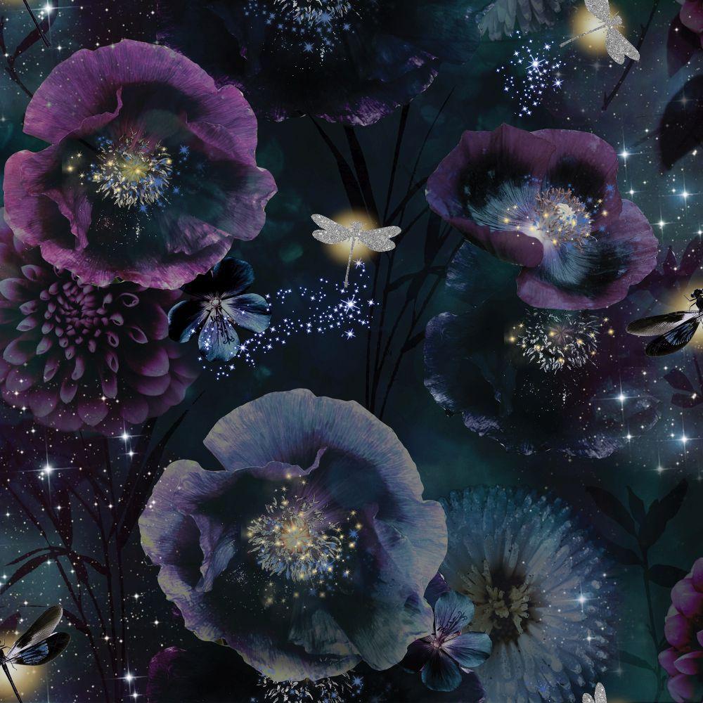 Arthouse Damselfly Pink Blush Glitter Luxury Floral Feature Wallpaper 692305