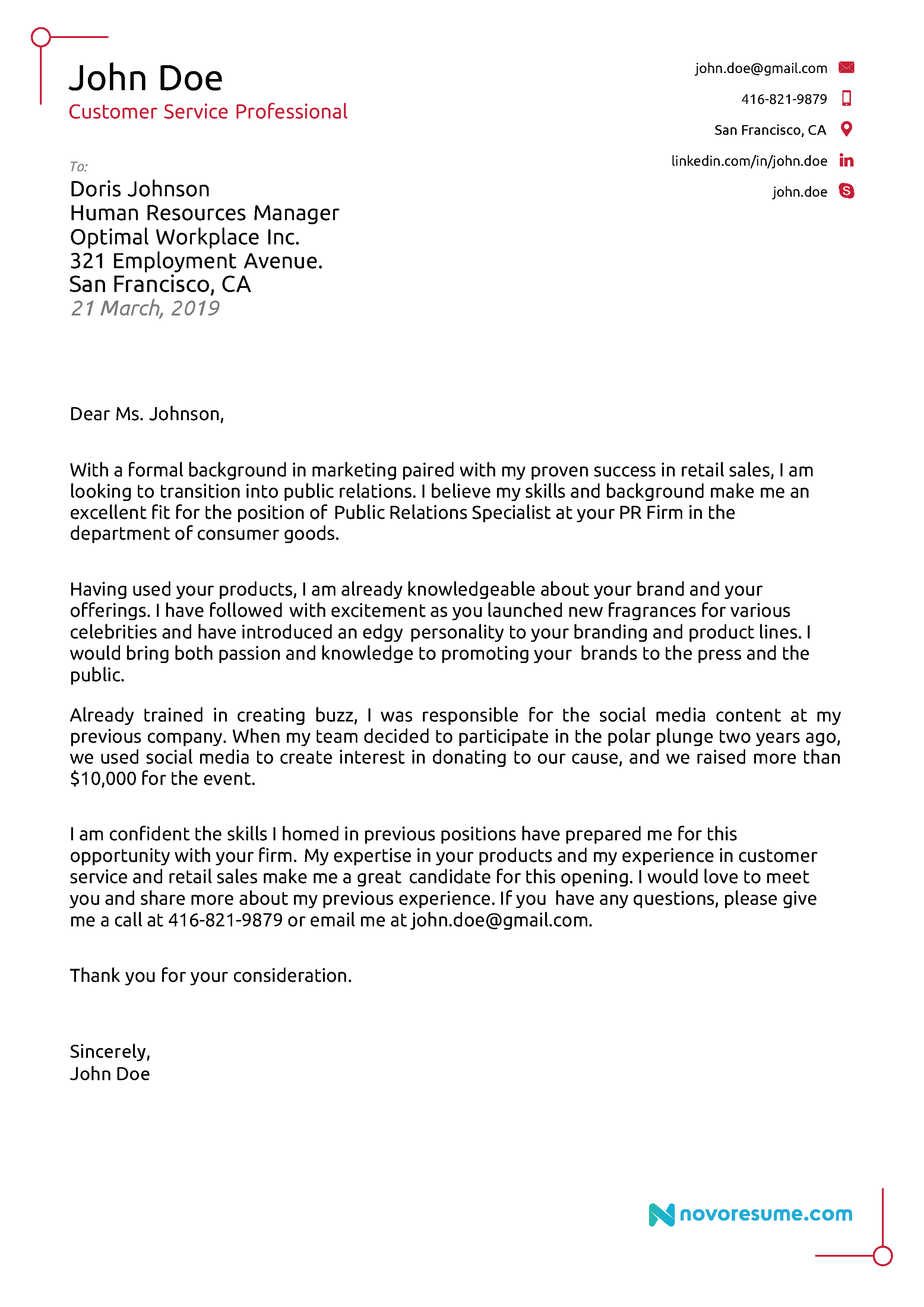 Best Cover Letter Template 2019