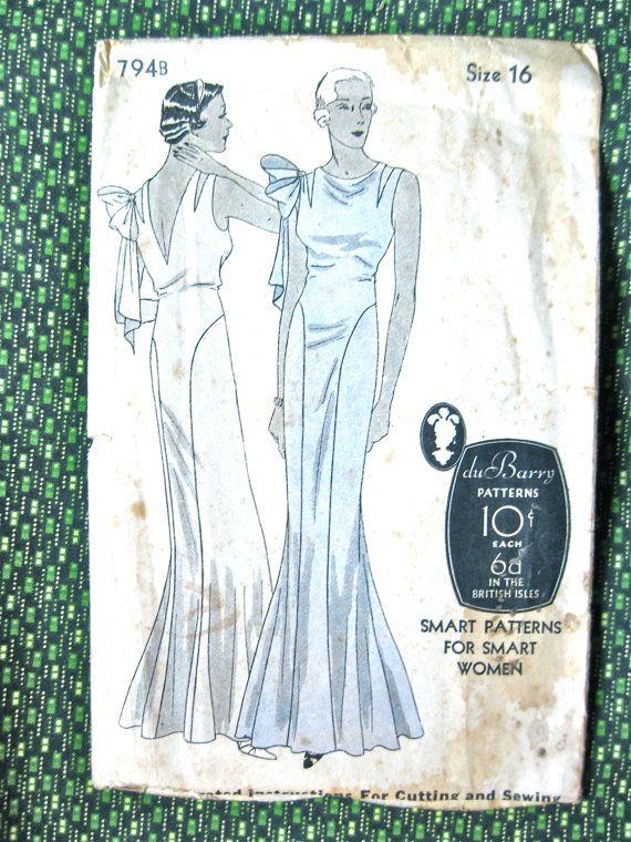 1930s gown pattern   Du Barry 794B