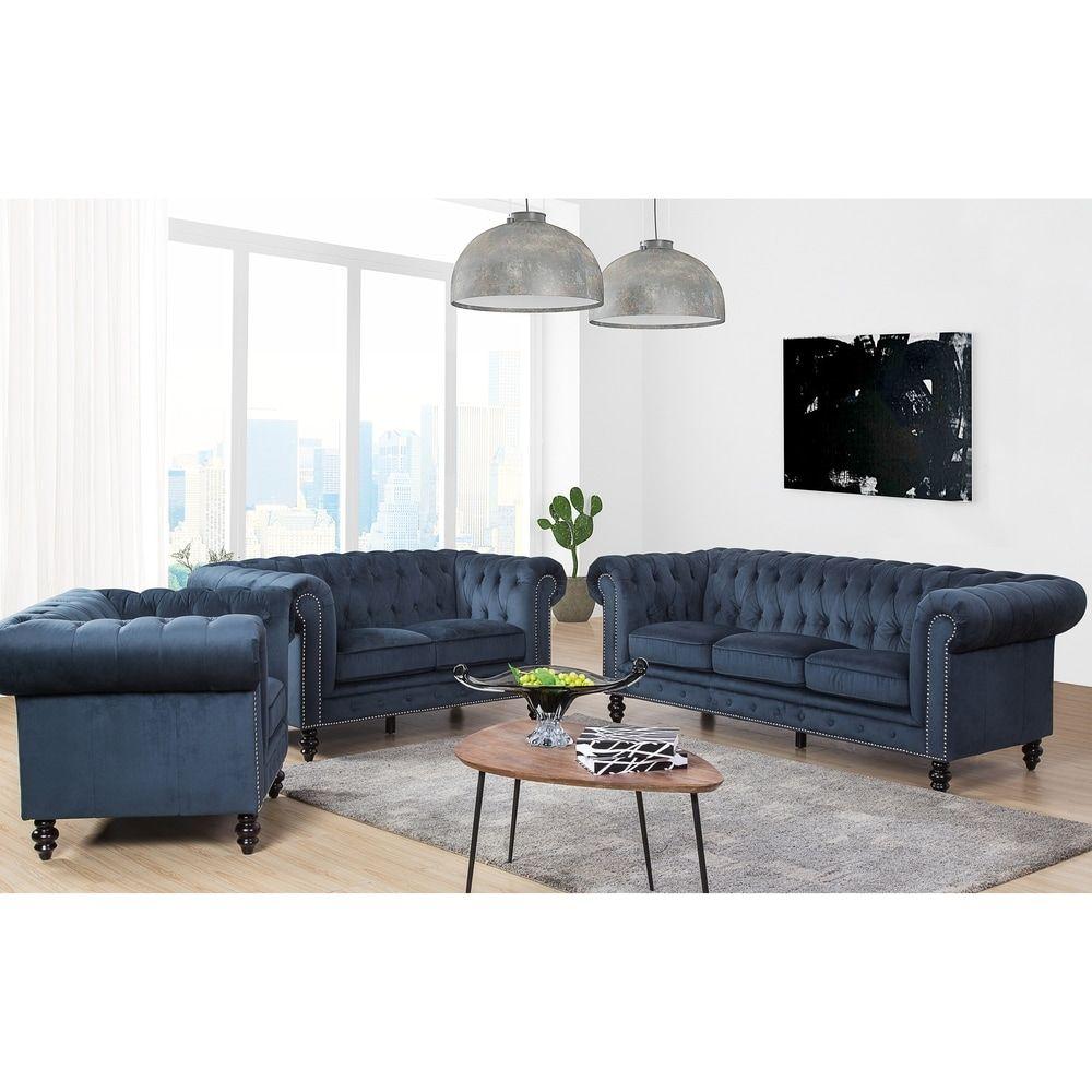 Best Gracewood Hollow Dib Grey Velvet 3 Piece Living Room Set 400 x 300