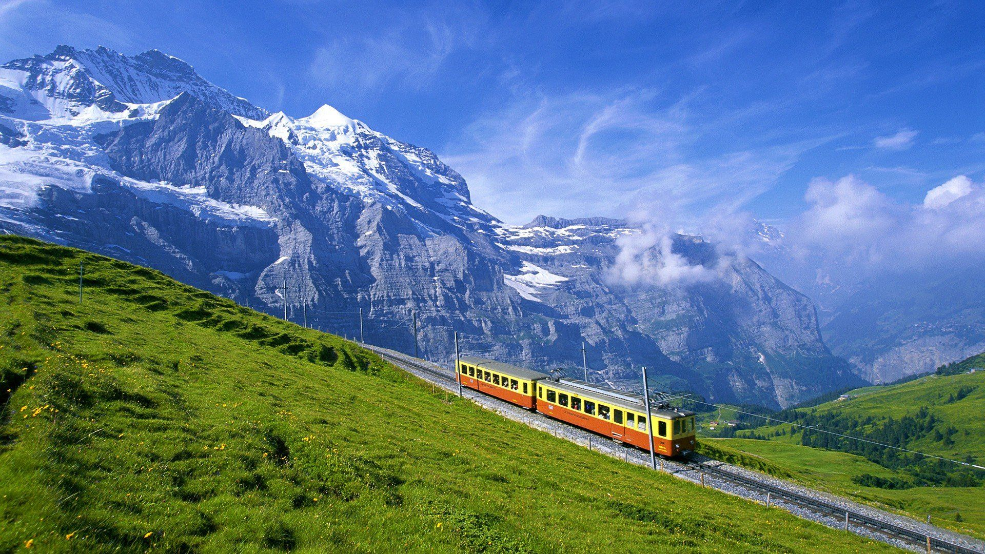 Spectacular Train In Swiss Alps Switzerland Wallpaper Beautiful Places Places To See
