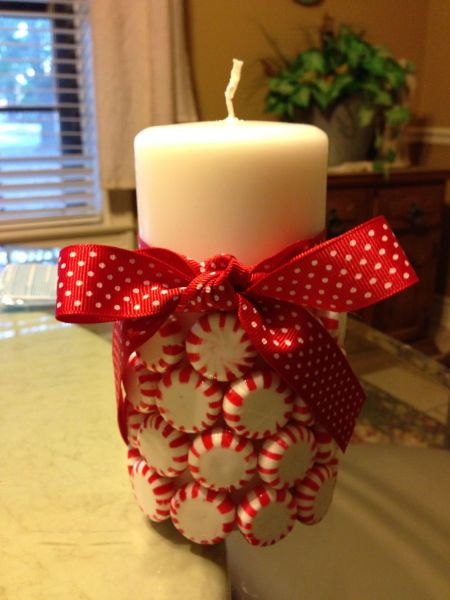 diy...super simple.  vanilla candle, candies, glue gun and ribbon. done. by MLL.