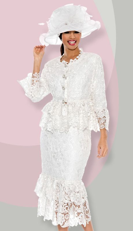 Giovanna 1453-WH-331 ( 2pc Lace designer Church Suit ) | ELEGANT ...