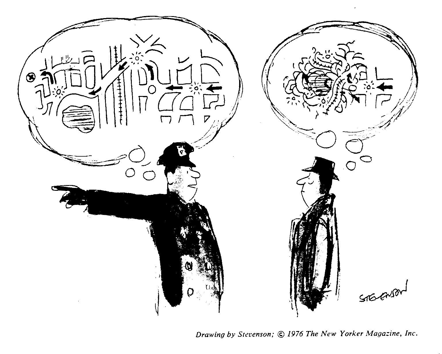 cartoon of police officer giving directions with two diferent