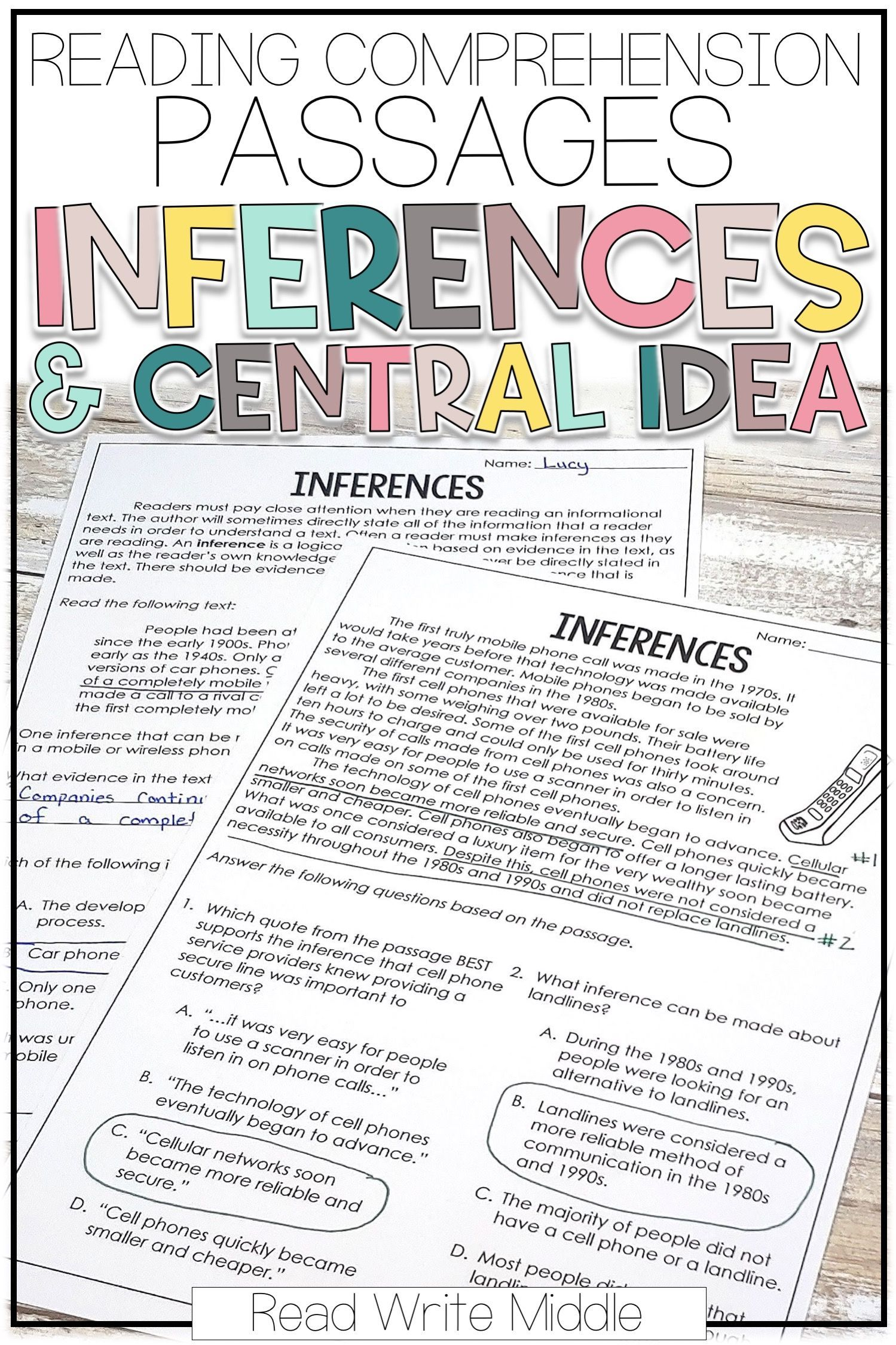 - Reading Comprehension Passages For Inferences & Central Idea