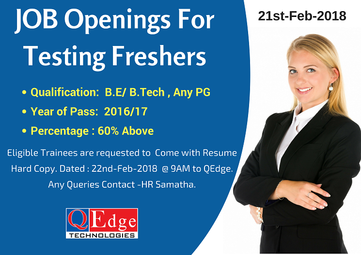 Testing Tools Freshers Job Openings in Hyderabad Location