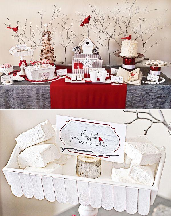 Rustic Modern Cardinal Red Birch Bark Holiday Dessert Table Holiday Desserts Table Holiday Christmas Table