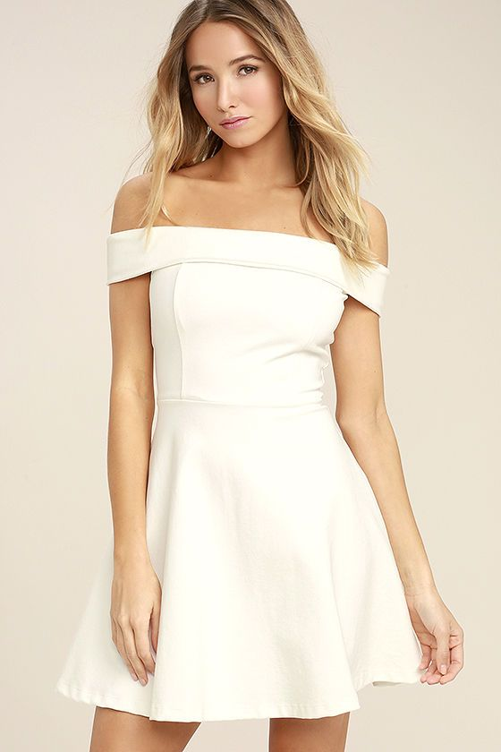 The Season of Fun White Off-the-Shoulder Skater Dress is always the perfect  pick-me-up! Medium-weight stretch knit shapes an off-the-shoulder neckline  (with ... 90c7bf785