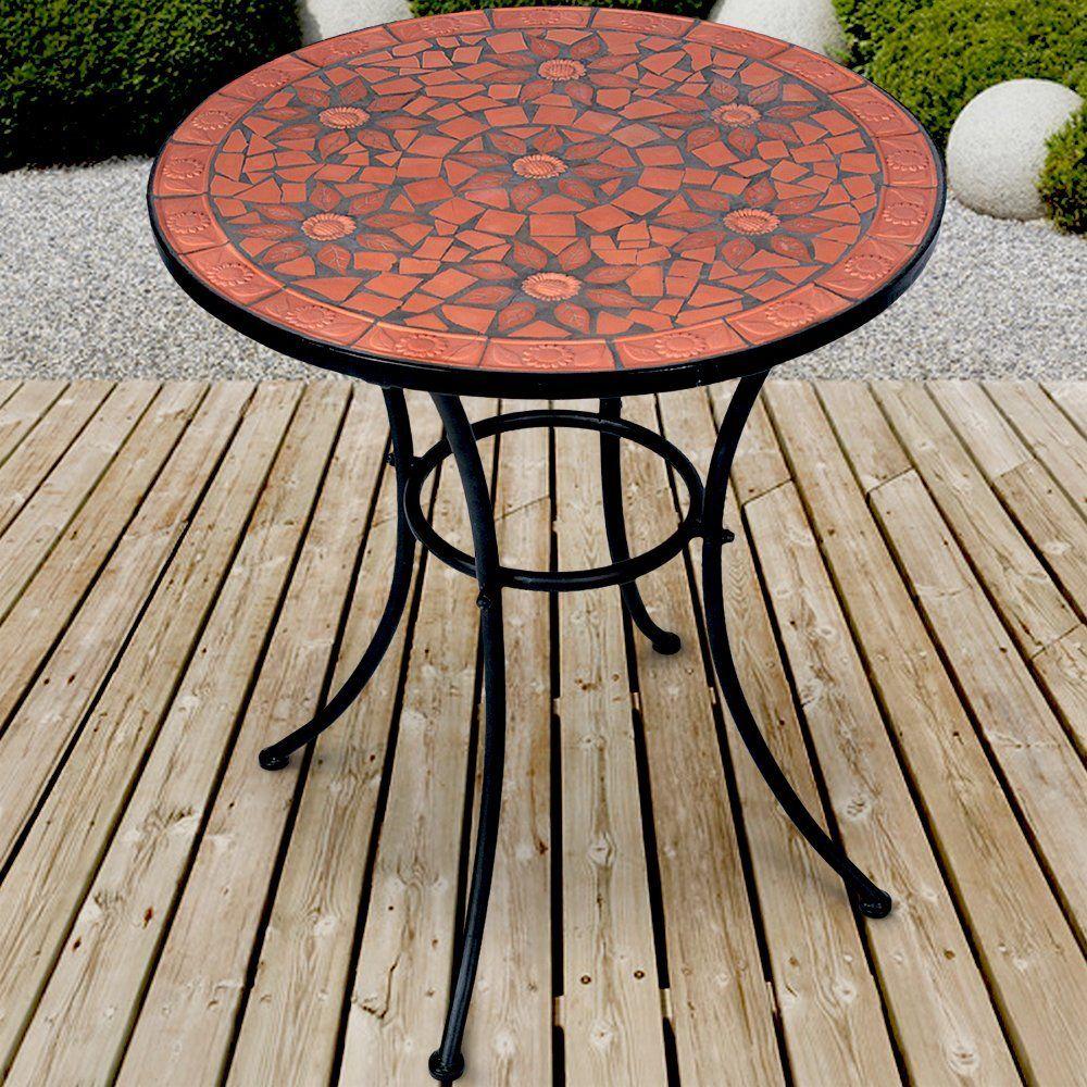 Mosaik Gartentisch Mosaiktisch Beistelltisch Garten Terrasse Metall Gestell Steinmosaik Gartentisch Mosaiktisch Gartentisch Mosaik