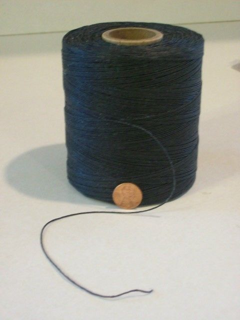 Black 24 ply waxed linen thread