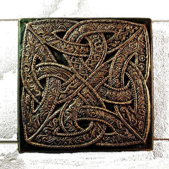 Celtic Knot Stone Art Sculpture Engraved Stone Art Irish Home Decor