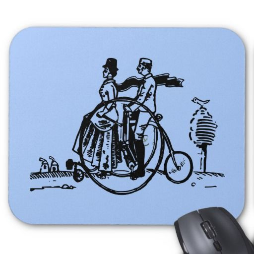 Vintage art, couple riding a bicycle, blue mouse pad.