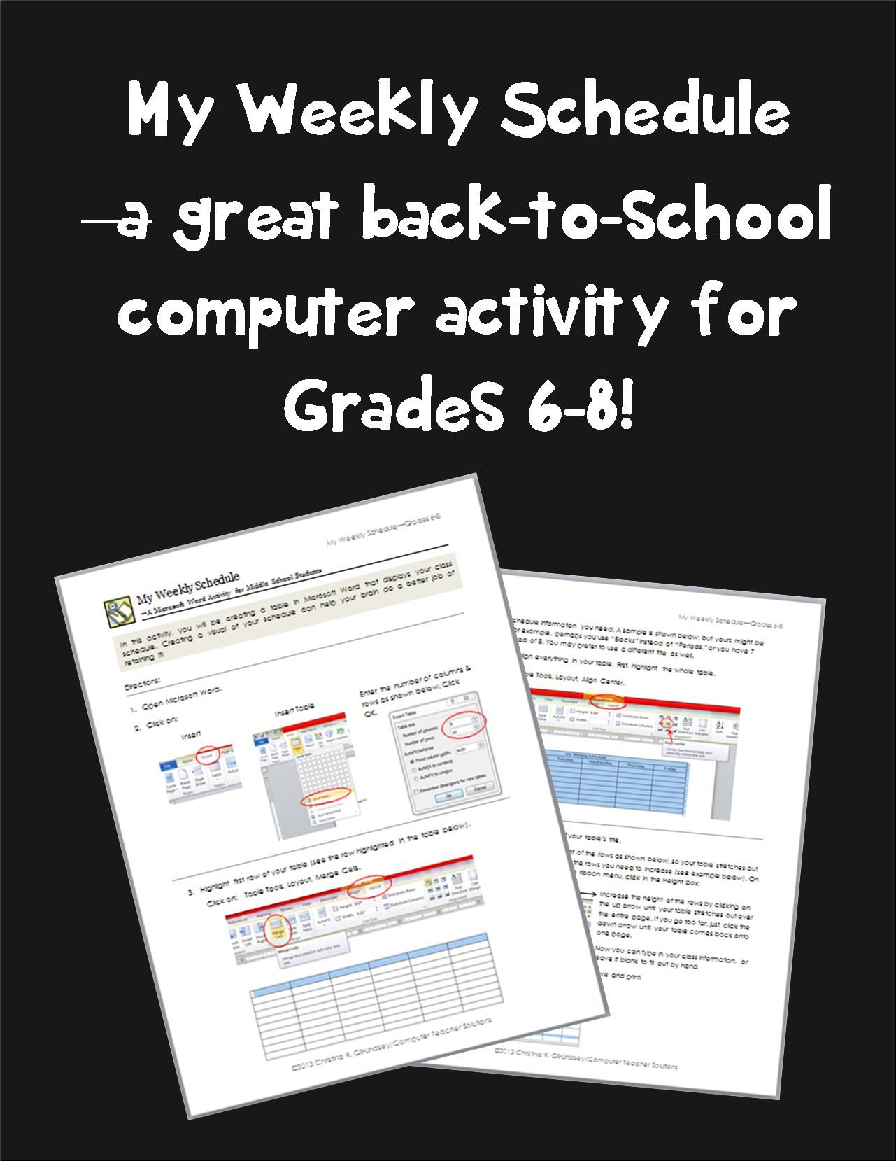My Weekly Schedule A Microsoft Word Activity For Grades 6